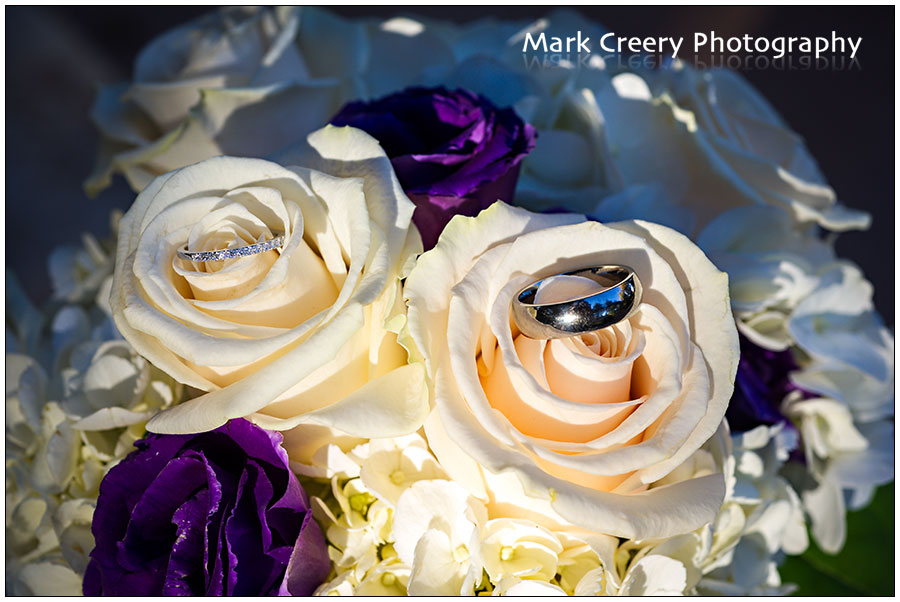 wedding ring photo on bouquet