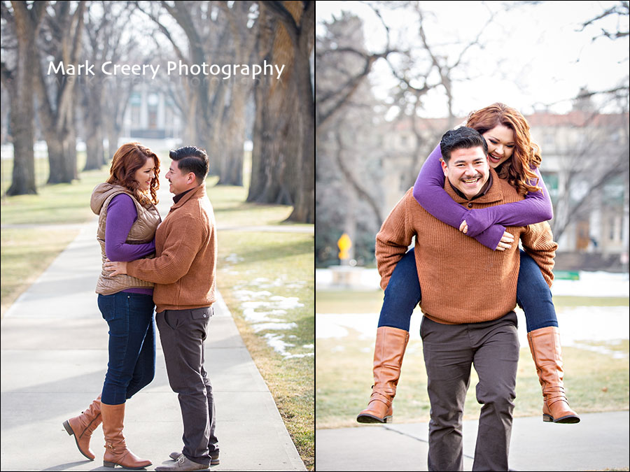 engagement photos at CSU Oval in Fort Collins