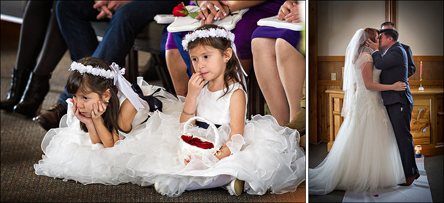 Bored flower girls and wedding kiss photos