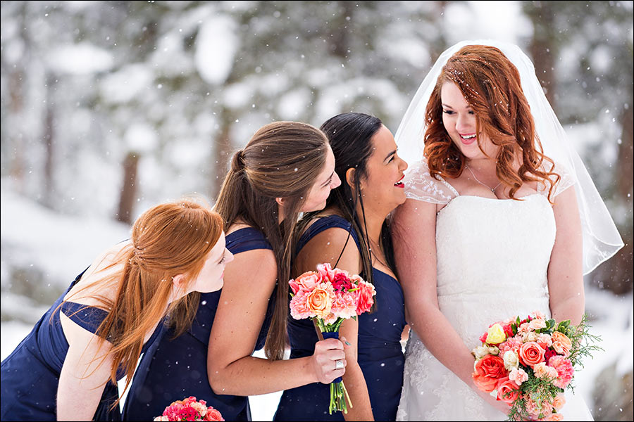 Bridesmaids and bride wedding photo in the snow