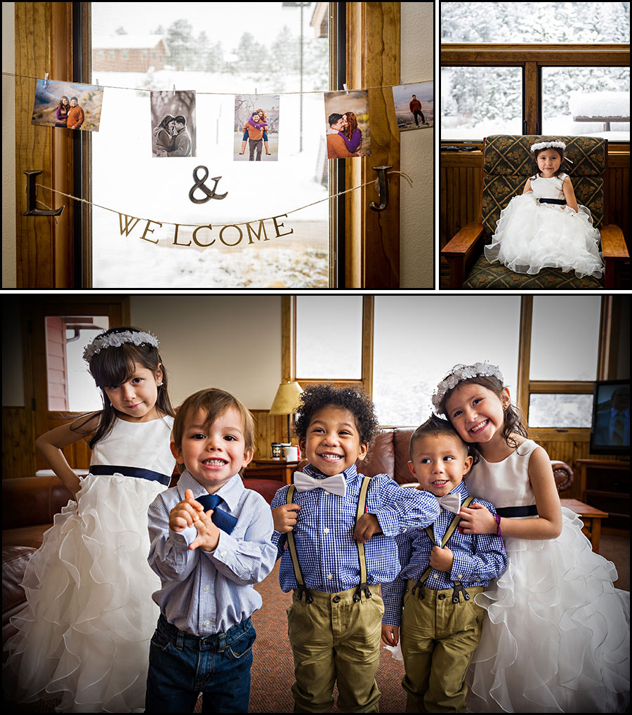 Photo of cute flower girls and pageboys at a wedding