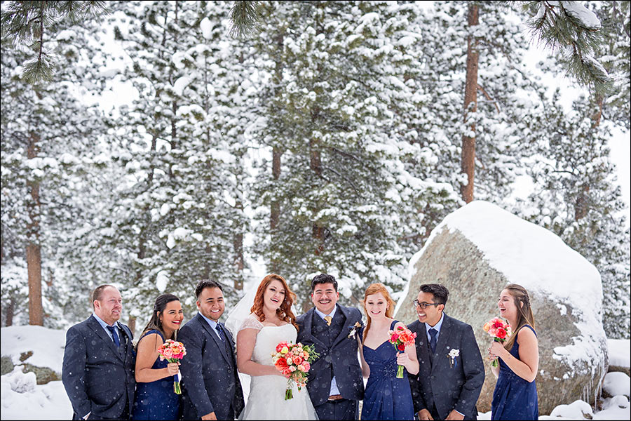 Estes Park Colorado bridal party wedding photo in the snow