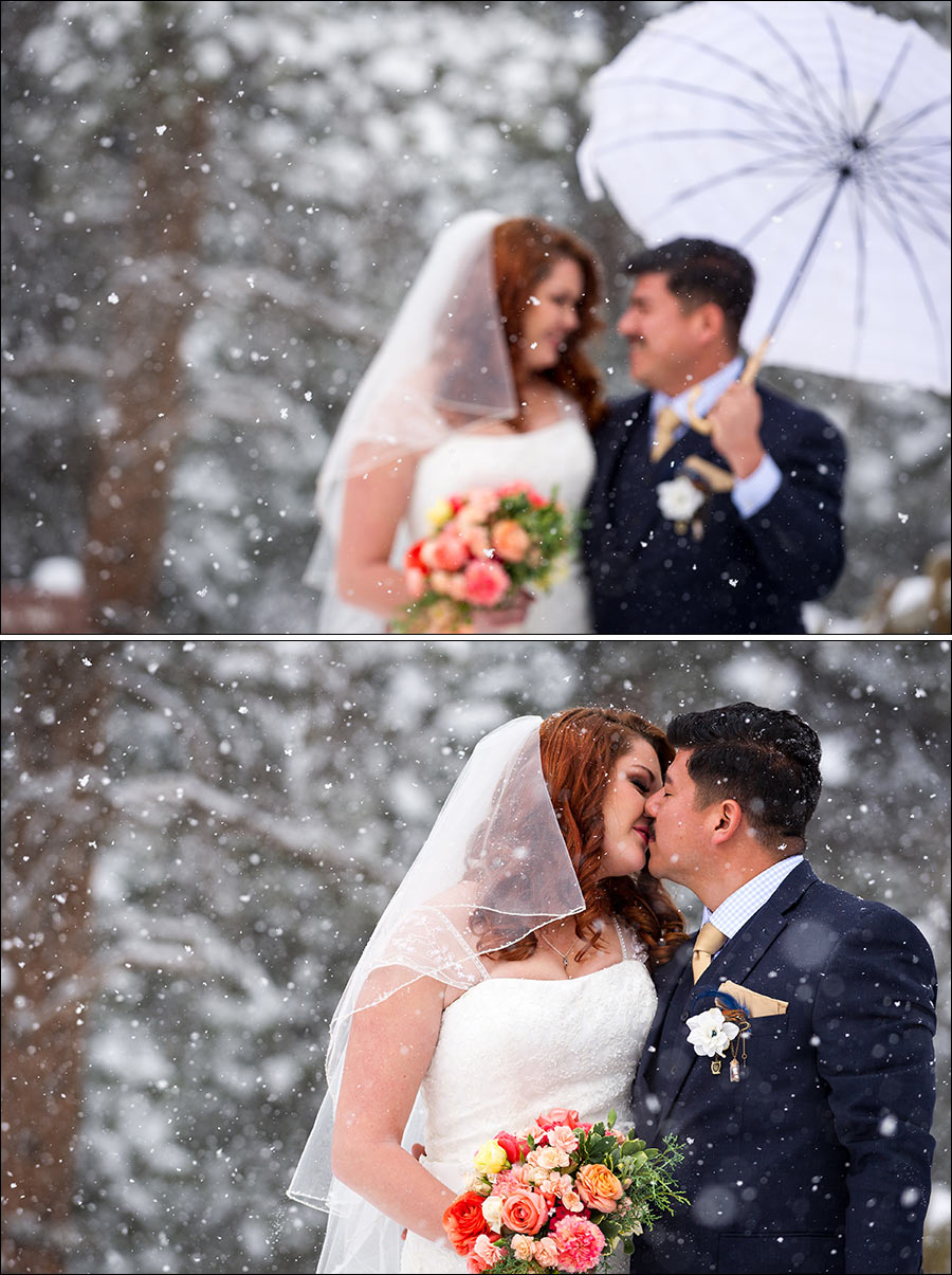 Estes Park wedding photos in the snow at YMCA