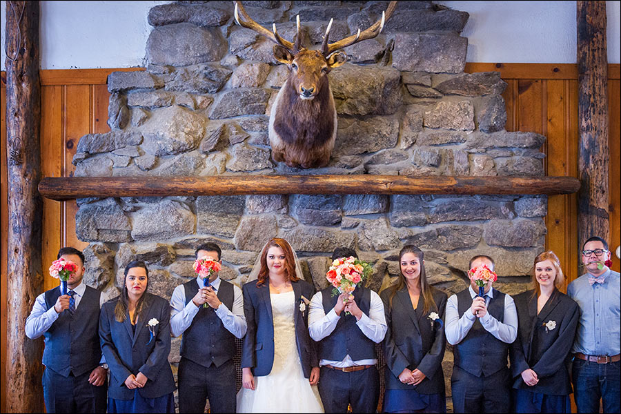 Estes Park YMCA bridal party wedding photo at Elkhorn Lodge