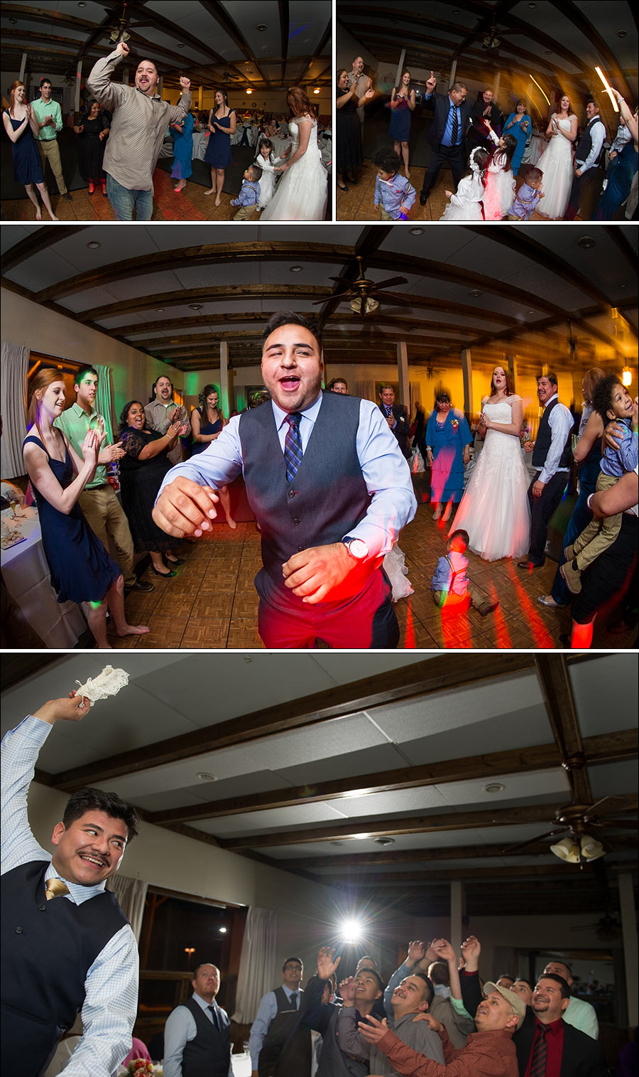 garter toss wedding party photos