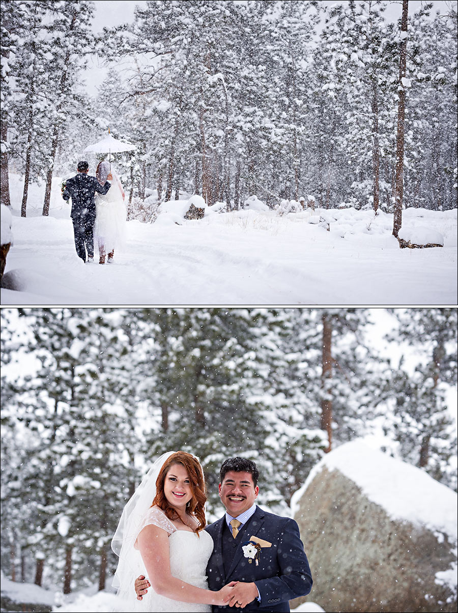 Snowy wedding photos in Estes Park Colorado