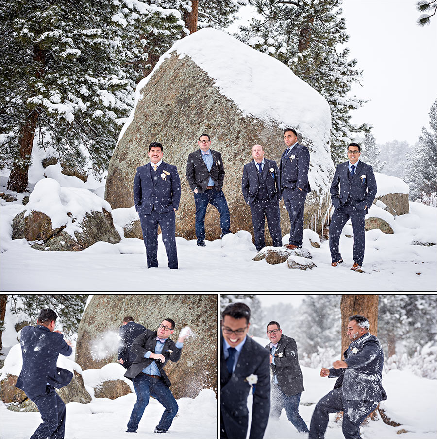 Wedding photo of groomsmen snowball fight in Estes Park