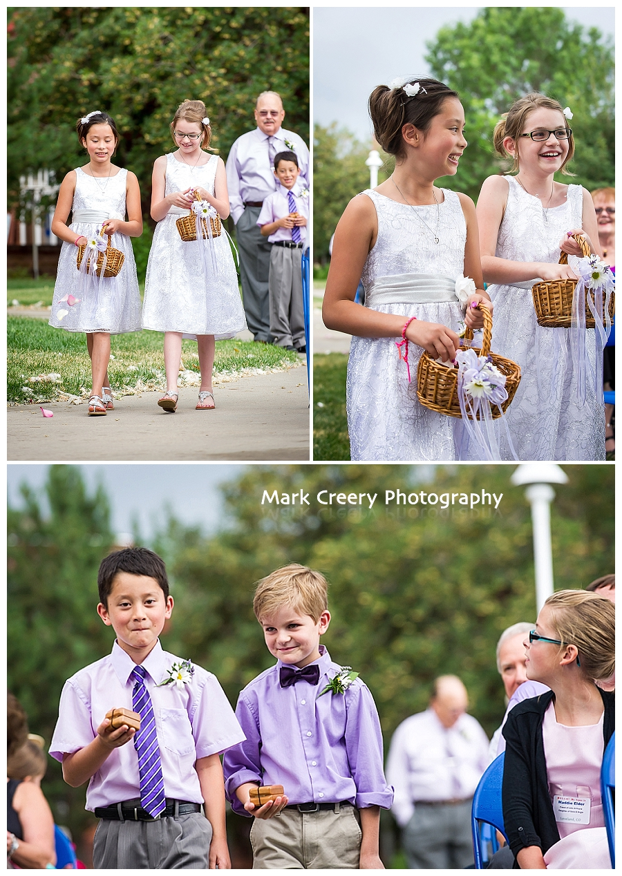 Flower girls and ring bearers walking down the aisle