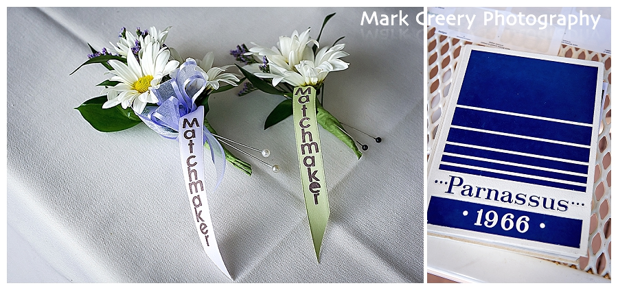 wedding details with matchmaker boutonniere