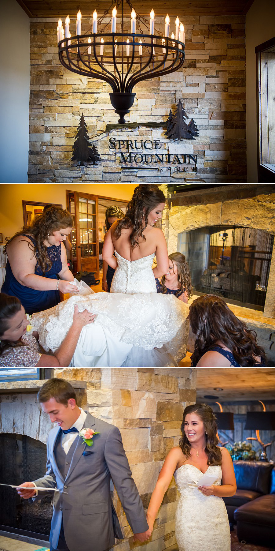 Bride getting ready at Spruce Mountain Ranch wedding
