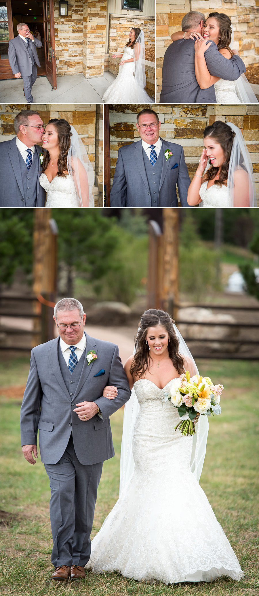 Father Daughter First Look at Spruce Mountain Ranch wedding