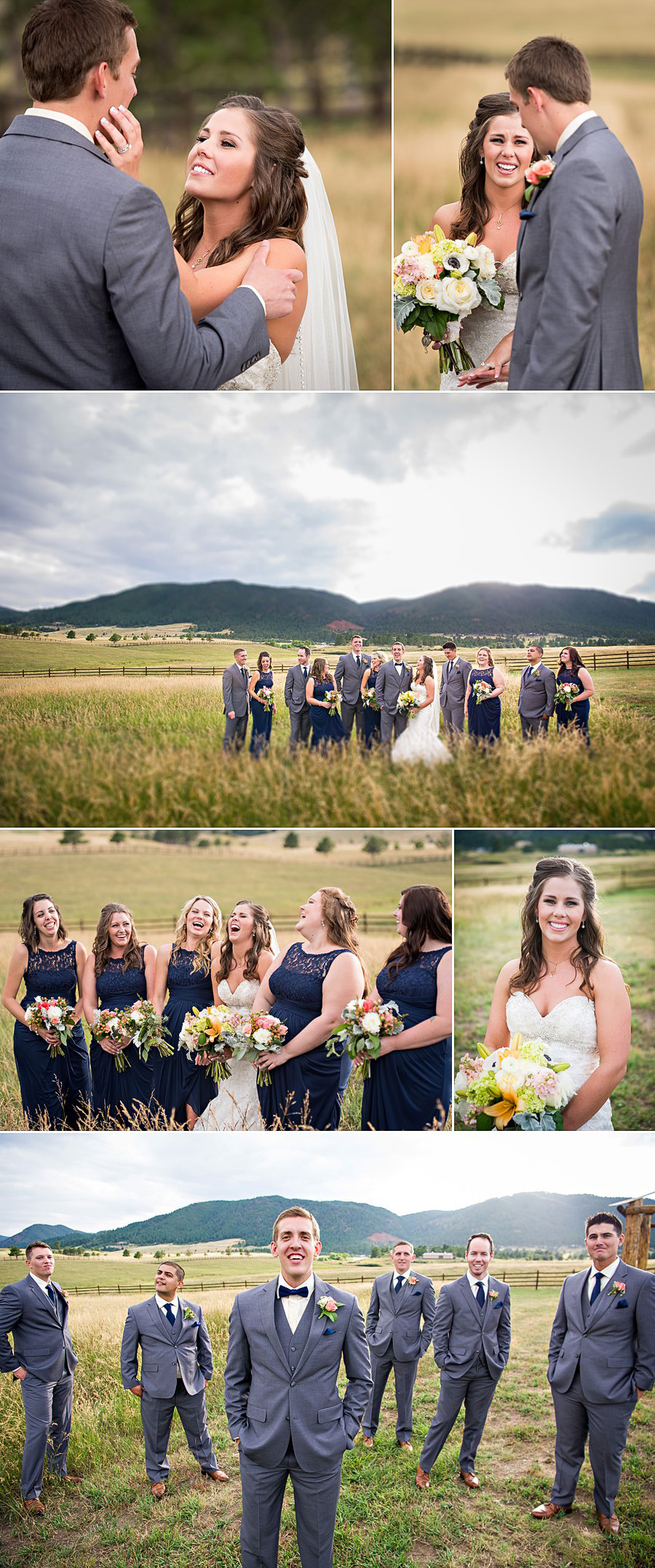 Bridal party photos at Trey's Vista at Spruce Mountain Ranch