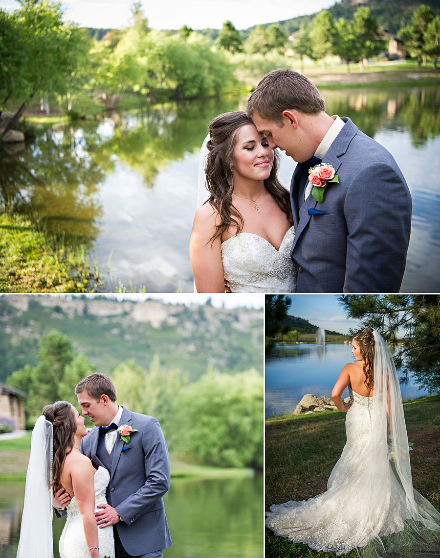 Bride and groom portraits at Spruce Mountain Ranch