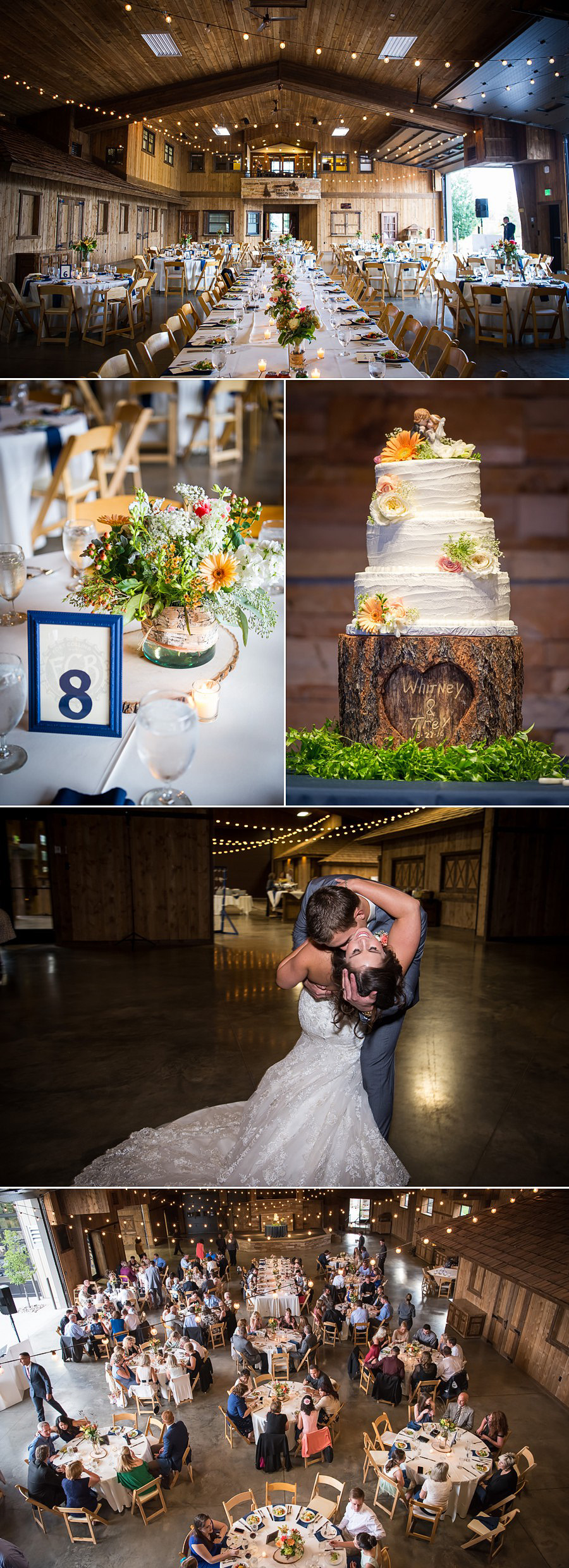 Reception details and entrance in Ponderosa Room at Spruce Mountain Ranch