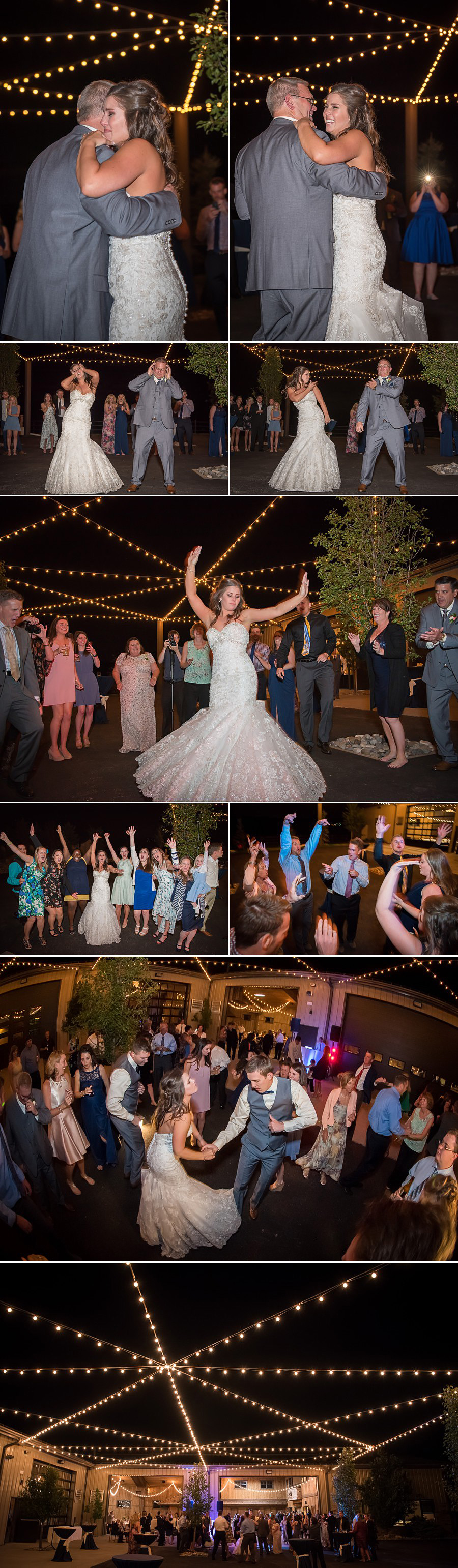 Reception dancing at Spruce Mountain Ranch wedding